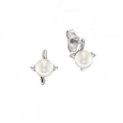 Cercei din aur alb 18K cu perle 1,00 gr. si diamante 0,08 ct., model Orsini 00222BL