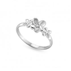 Inel din aur alb 18K cu diamant 0,01 ct., model flori, Orsini 01077