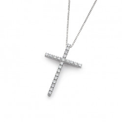 Lantisor din aur alb 18K cu pandantiv cruce cu diamante 0,17 ct., model Orsini 0132CI-C