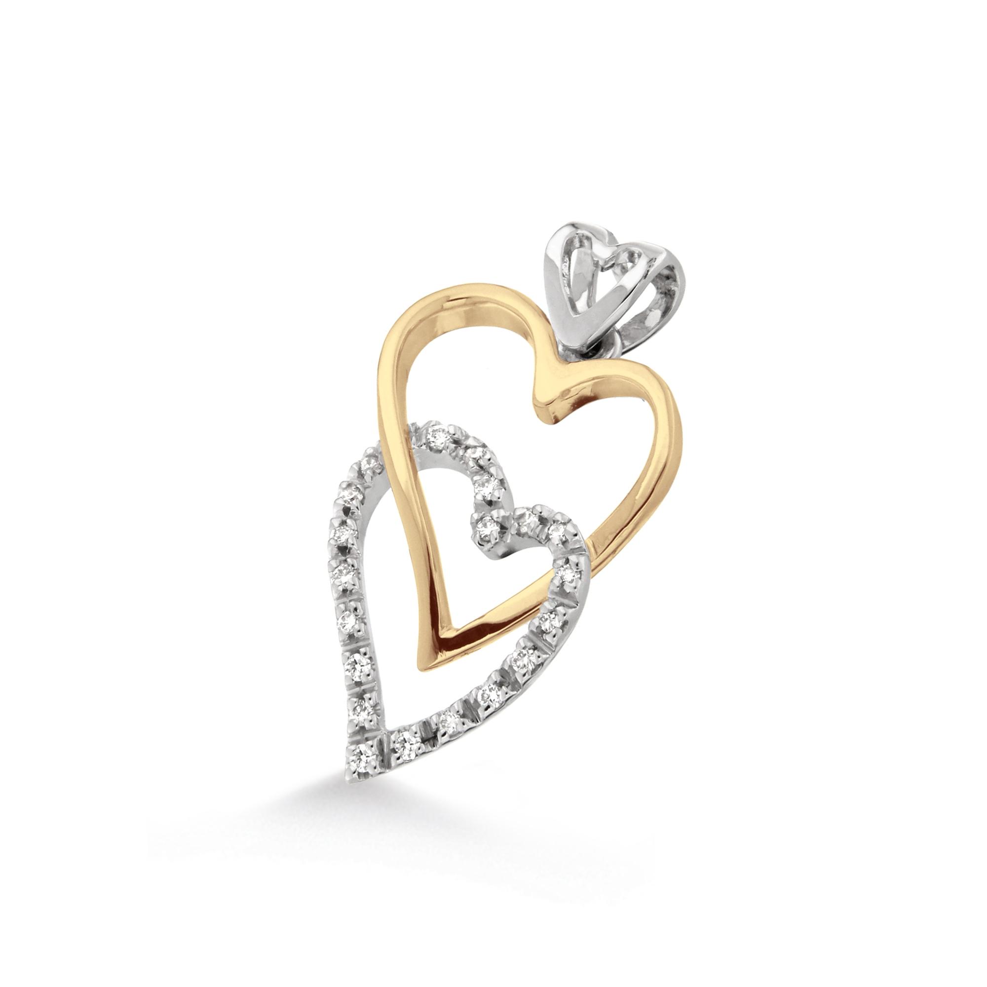 Pandantiv inimioara din aur 18K cu diamante 0,12 ct., model Orsini 0198CI