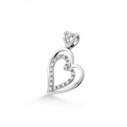 Pandantiv inimioara din aur 18K cu diamante 0,12 ct., model Orsini 0199CI