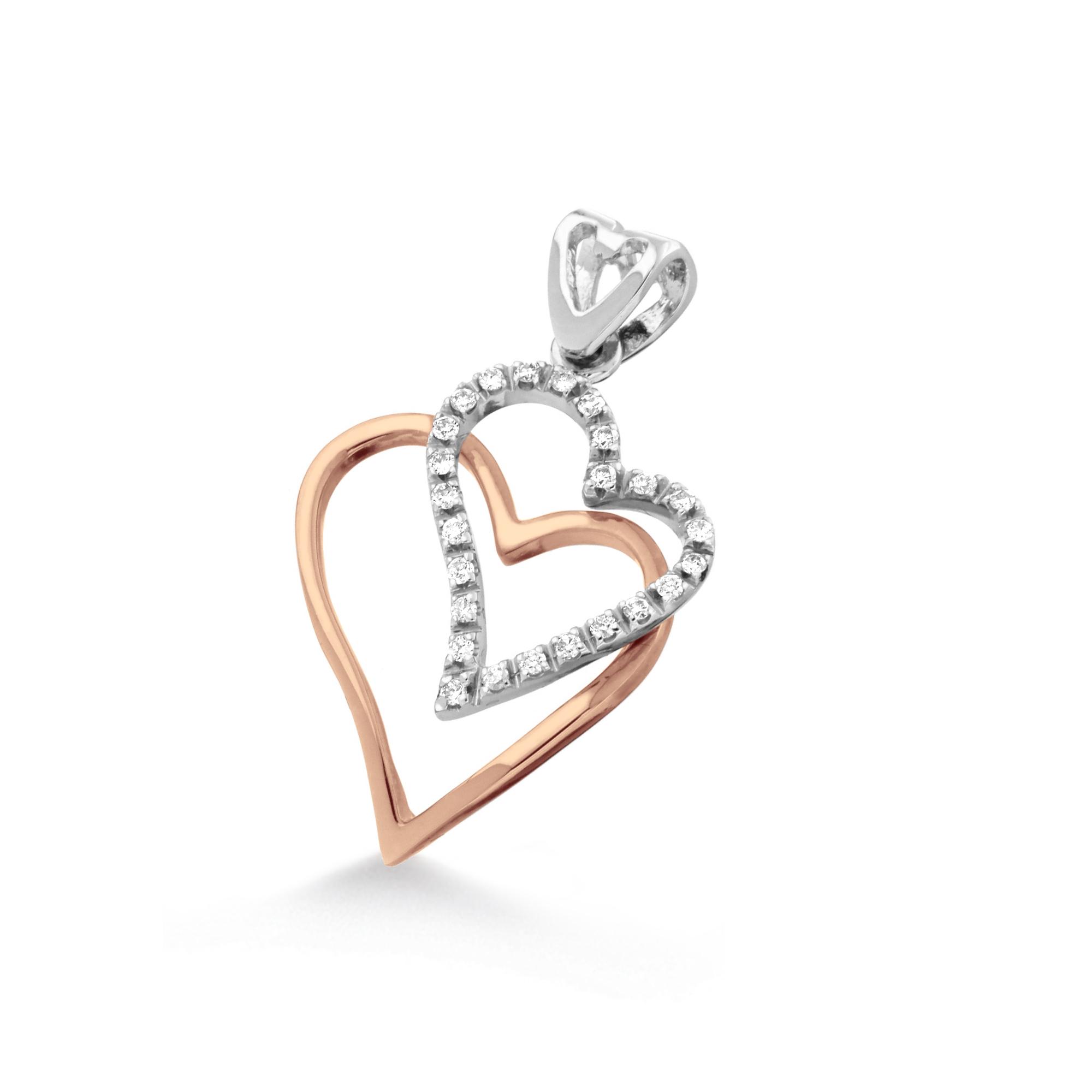 Pandantiv inimioara din aur 18K cu diamante 0,15 ct., model Orsini 0221CI