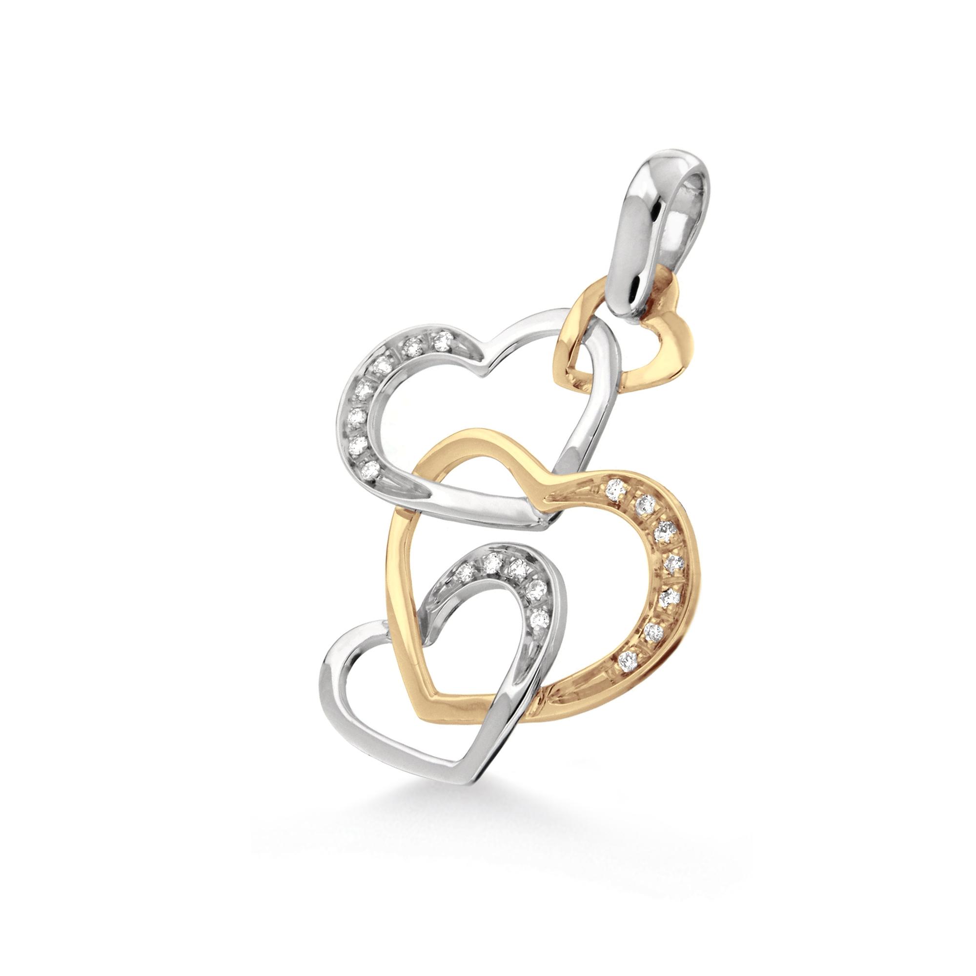 Pandantiv inimioara din aur 18K cu diamante 0,10 ct., model Orsini 0304CI