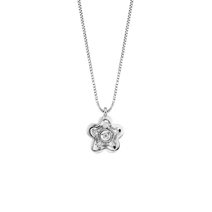 Lantisor din aur 18K cu pandantiv floare cu diamante 0,05 ct., model Orsini 0442CI