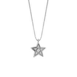 Lantisor din aur alb 18K cu pandantiv stea cu diamante 0,05 ct., model Orsini 0447CI