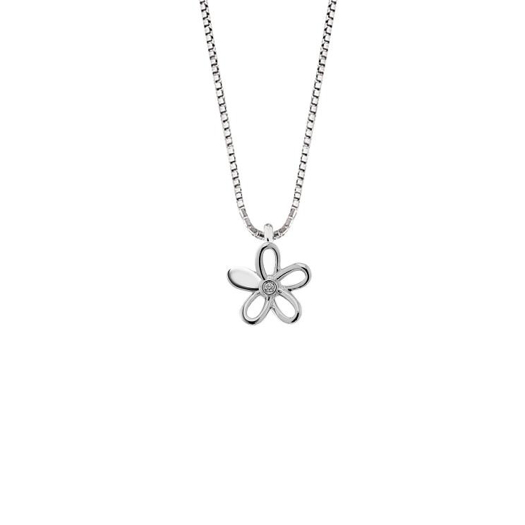 Lantisor din aur 18K cu pandantiv floare cu diamant 0,005 ct., model Orsini 0474CI