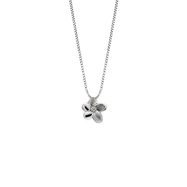 Lantisor din aur 18K cu pandantiv floare cu diamant 0,01 ct., model Orsini 0480CI