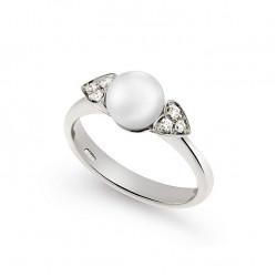 Inel din aur 18K cu perla si diamante 0,11 ct., model inima, Orsini 2362G