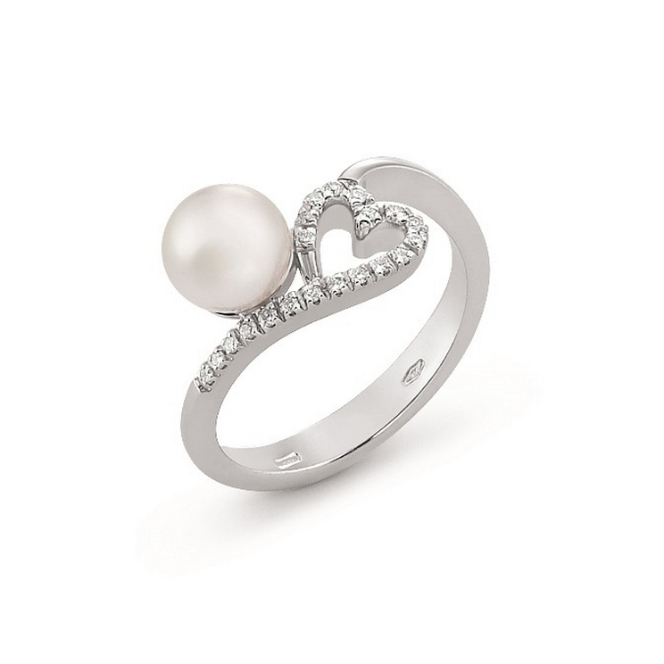 Inel din aur 18K cu perla si diamante 0,10 ct., model inima, Orsini 2405G