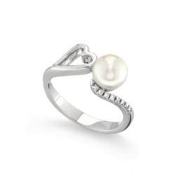 Inel din aur 18K cu perla si diamante 0,04 ct., model inima, Orsini 2406G