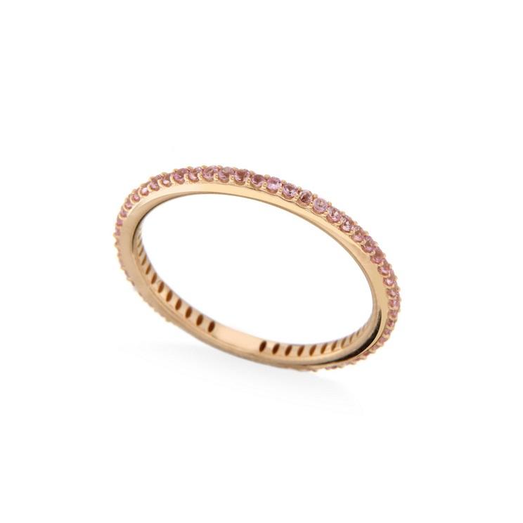 Inel eternity din aur 18K cu safir roz 0,89 ct., model Orsini 2878G-ZR2