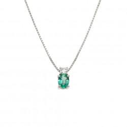 Lantisor din aur alb 18K cu pandantiv cu smarald 0,19 ct. si diamant 0,04 ct., model Orsini CI1444S