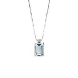 Lantisor din aur alb 18K cu pandantiv cu acvamarin 0,73 ct. si diamant 0,01 ct., model Orsini CI1666-5X7