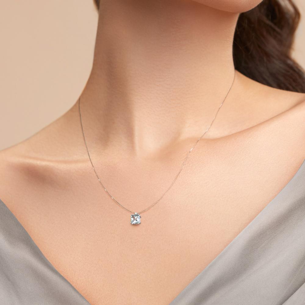 Lantisor din aur 18K cu pandantiv cu acvamarin 0,88 ct. si diamant 0,01 ct., model Orsini CI1674-6X6