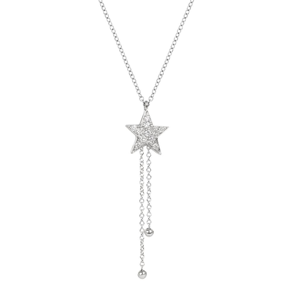 Lantisor din aur 18K cu pandantiv stea cu diamante 0,11 ct., model Orsini CI1686