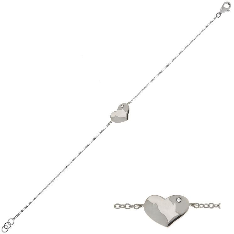 Bratara din aur 18K cu diamant 0,005 ct., model cu inima, Orsini BR0160