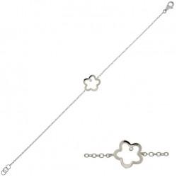 Bratara din aur alb 18K cu diamant 0,005 ct., model cu floare, Orsini BR0164