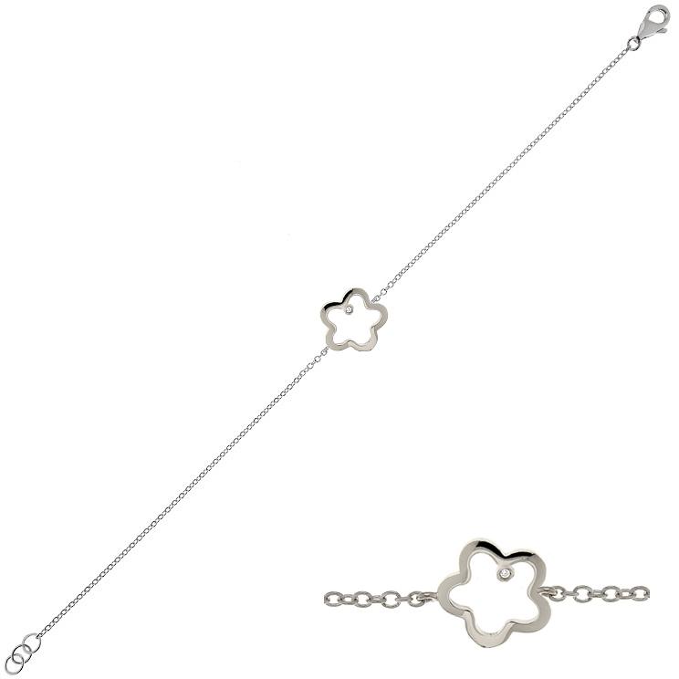 Bratara din aur 18K cu diamant 0,005 ct., model cu floare, Orsini BR0164