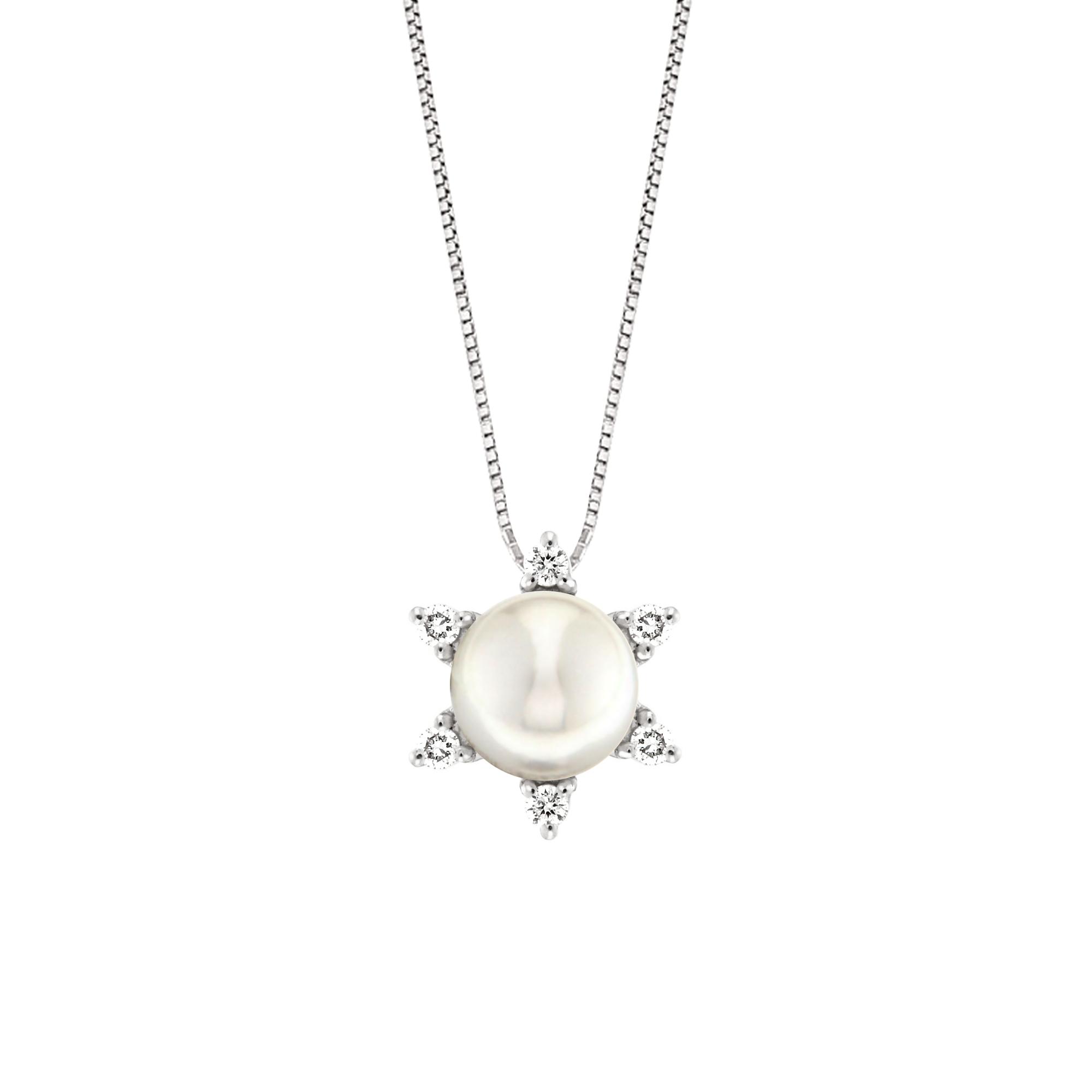 Lantisor din aur 18K cu pandantiv cu perla 0,50 gr. si diamante 0,12 ct., model Orsini CI1364