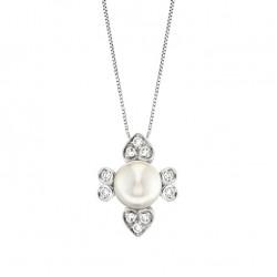 Lantisor din aur 18K cu pandantiv inima cu perla 0,50 gr. si diamante 0,15 ct., model Orsini CI1474
