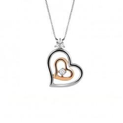 Lantisor din aur 18K cu pandantiv inima cu diamante 0,12 ct., model Orsini CI1477