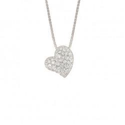 Lantisor din aur 18K cu pandantiv inima cu diamante 0,71 ct., model Orsini CI1528