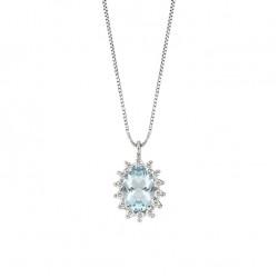 Lantisor din aur alb 18K cu pandantiv cu acvamarin 0,70 ct. si diamante 0,14 ct., model Orsini CI1665-5X7