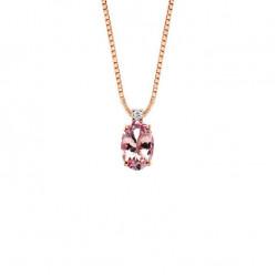 Lantisor din aur 18K cu pandantiv cu morganit 0,38 ct. si diamant 0,01 ct., model Orsini CI1667-M4X6