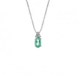 Lantisor din aur alb 18K cu pandantiv cu smarald 0,40 ct. si diamante 0,03 ct., model Orsini CI1690S4X6