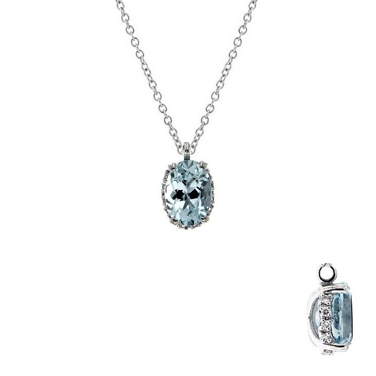 Lantisor din aur 18K cu pandantiv cu acvamarin 0,70 ct. si diamante 0,04 ct., model Orsini CI1713-5X7