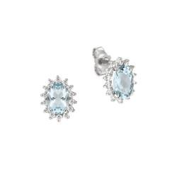 Cercei din aur alb 18K cu acvamarin 1,50 ct. si diamante 0,28 ct., model Orsini OR0584-5X7