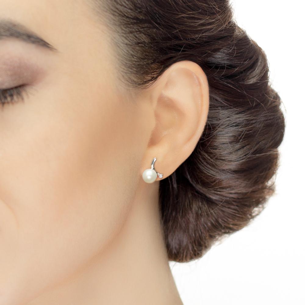Cercei din aur 18K cu perle 0,80 gr. si diamante 0,04 ct., model Orsini 00220BL