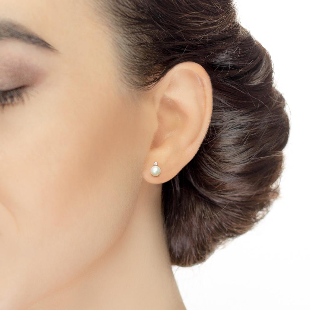 Cercei din aur 18K cu perle 0,40 gr. si diamante 0,02 ct., model Orsini 00250BL-02