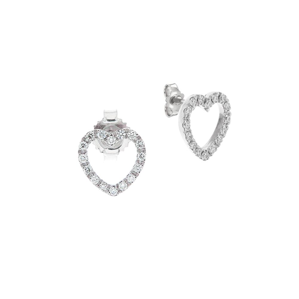 Cercei din aur 18K cu diamante 0,16 ct., model inima, Orsini 00261BL