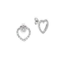 Cercei din aur alb 18K cu diamante 0,16 ct., model inima, Orsini 00261BL