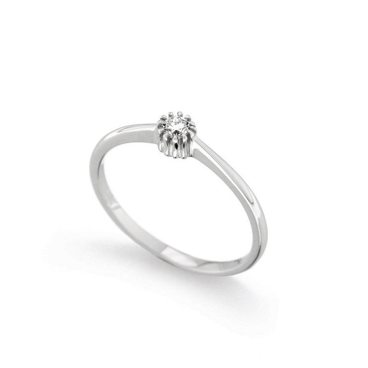 Inel de logodna din aur 18K cu diamant 0,10 ct., model Orsini 01011-10