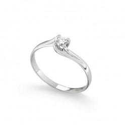 Inel de logodna din aur alb 18K cu diamant 0,15 ct., model Orsini 01027-15