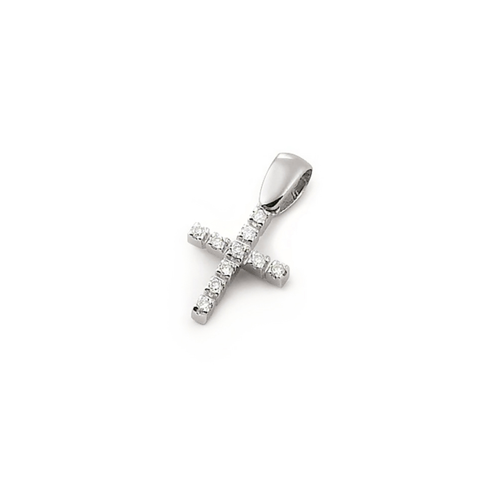 Pandantiv cruciulita din aur 18K cu diamante 0,08 ct., model Orsini 0104CI
