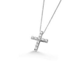 Lantisor din aur alb 18K cu pandantiv cruciulita cu diamante 0,08 ct., model Orsini 0104CI-C