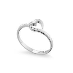 Inel din aur 18K cu diamante 0,02 ct., model inima, Orsini 01059