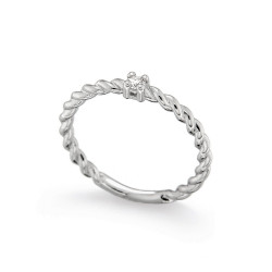 Inel de logodna din aur alb 18K cu diamant 0,05 ct., model Orsini 01061