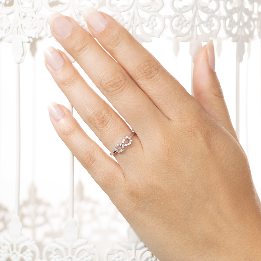 Inel din aur 18K cu diamante 0,17 ct., model infinit, Orsini 01063
