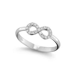 Inel din aur alb 18K cu diamante 0,17 ct., model infinit, Orsini 01063