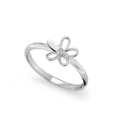 Inel din aur alb 18K cu diamant 0,005 ct., model floare, Orsini 01072