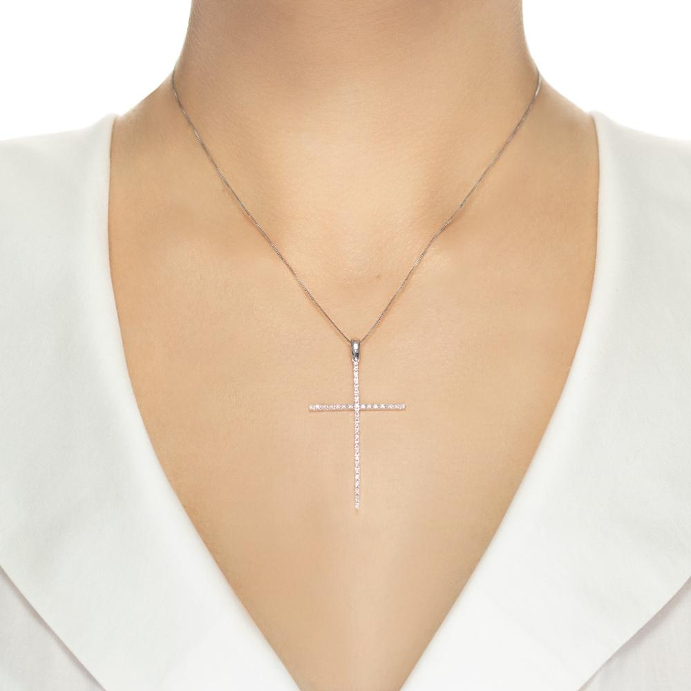Pandantiv cruce din aur alb 18K cu diamante 0,28 ct., model Orsini 0123CI