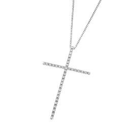 Lantisor din aur 18K cu pandantiv cruciulita cu diamante 0,28 ct., model Orsini 0123CI-C