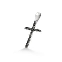 Pandantiv cruciulita din aur alb 18K cu diamante negre 0,17 ct., model Orsini 0131CIN