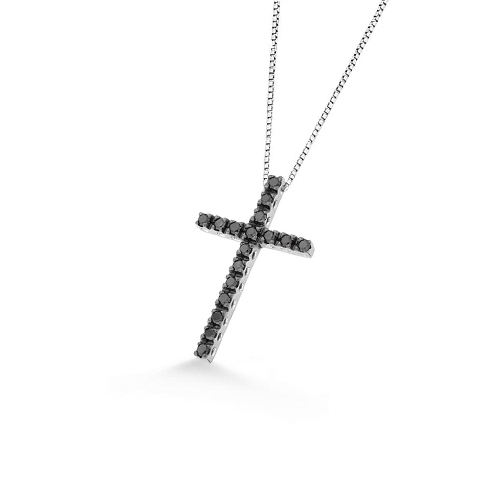 Lantisor din aur alb 18K cu pandantiv cruciulita cu diamante negre 0,17 ct., model Orsini 0131CIN-C