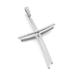 Pandantiv cruce din aur 18K cu diamante 0,15 ct., model Orsini 0166CI