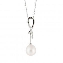 Lantisor din aur 18K cu pandantiv cu perla 1,00 gr. si diamante 0,05 ct., model Orsini 0327CIP